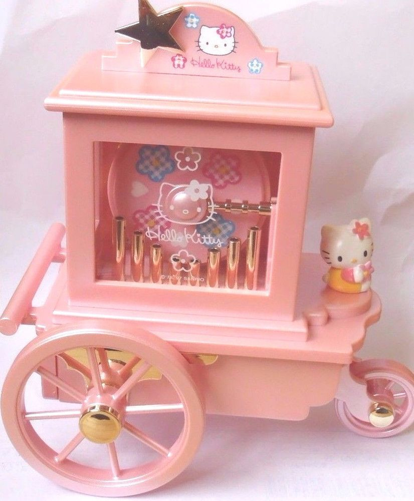 d90b9c9a82ef Vintage Very Rare Sanrio Hello Kitty Carriage Music Box Jewelry Box Pink  JAPAN