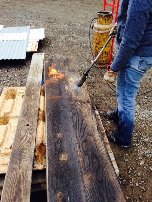 Scorching Wood With Torch Wood Reclaimed Barn Wood Barn Wood