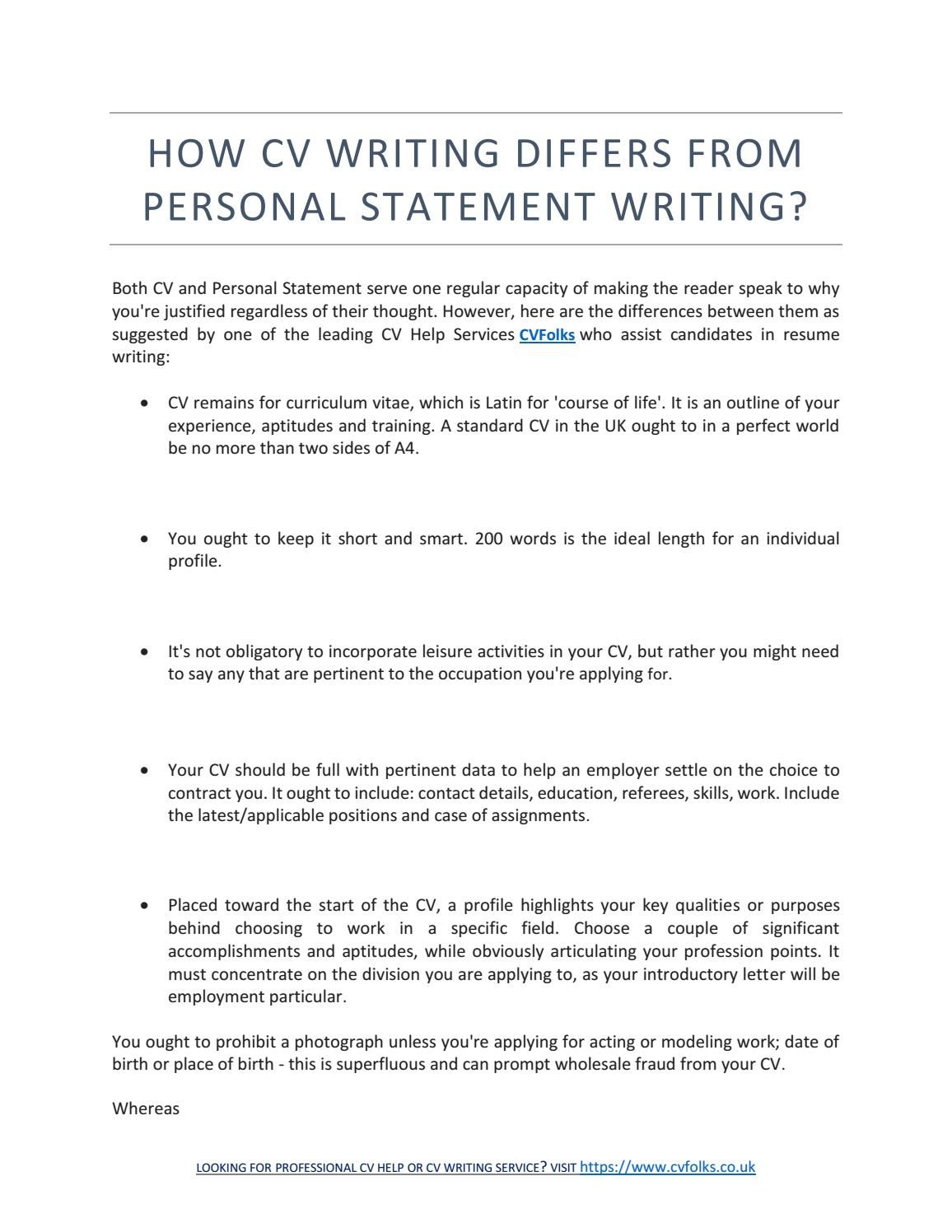 How Cv Writing Differs From Personal Statement Writing  Resume