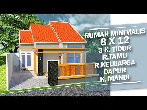 denah rumah minimalis 8 x 12 3 kamar tidur - youtube