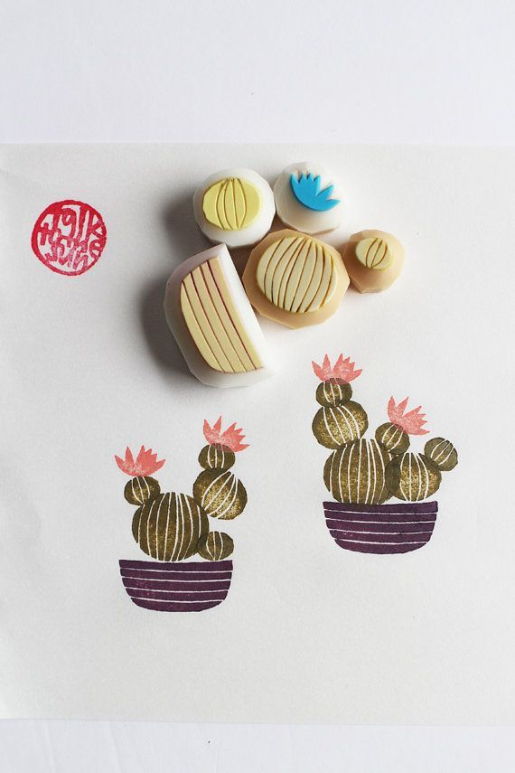 Cactus rubber stamps | cacti garden stamps | botanical plant hand carved stamps for diy birthday, summer crafts, card making, art journal #rubberstamping