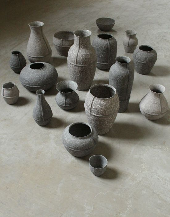 vessels made from paperpulp (recycled newspapers) by dutch artist debbie wuskamp