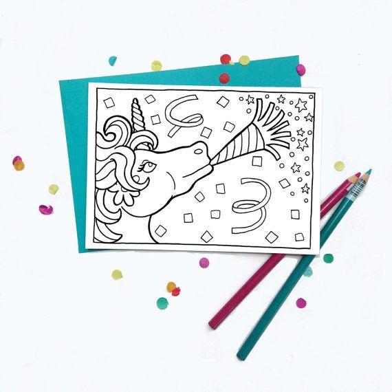 Unicorn Birthday Card - Coloring Card | Coloring | Printable ...