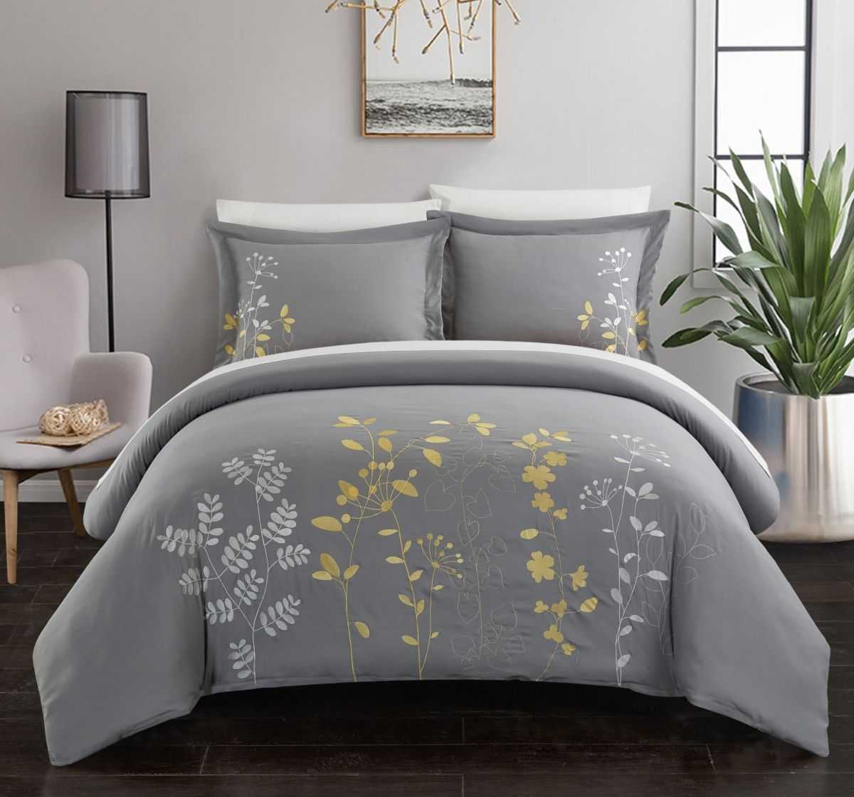 NEW BED COLLECTION 3PC EMBROIDERY DUVET COMFORTER BED COVER SET W// PILLOW SHAMS