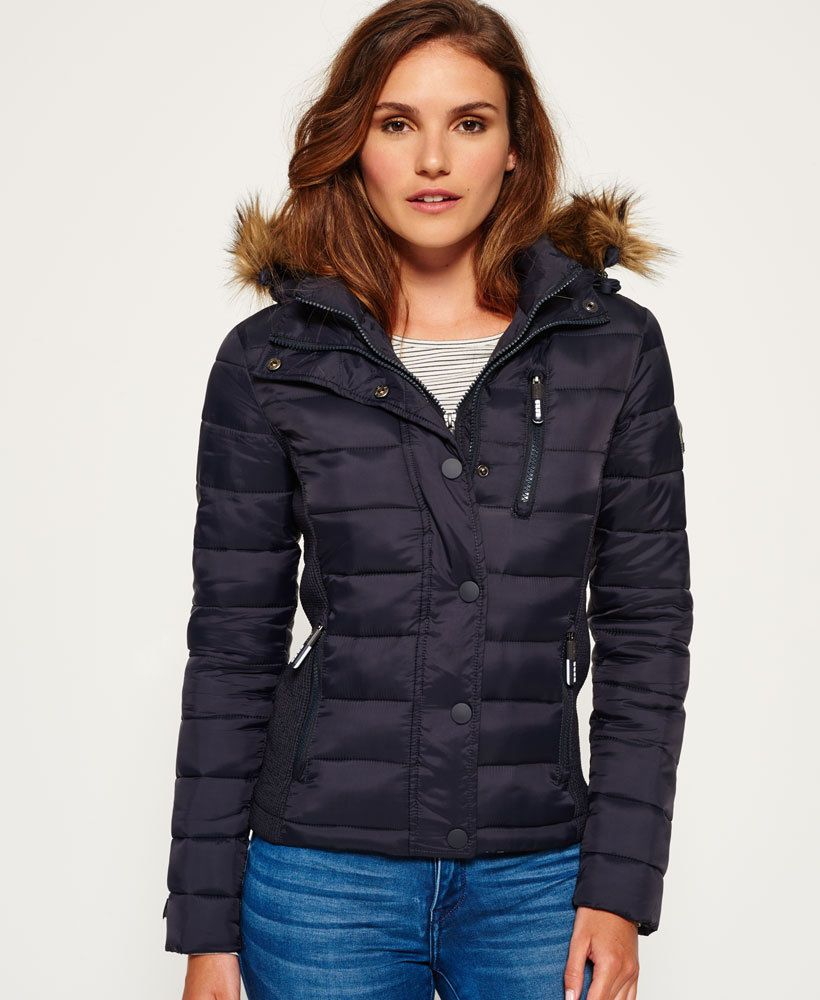 Womens Superdry Fuji Slim Double Zip Hooded Jacket Navy