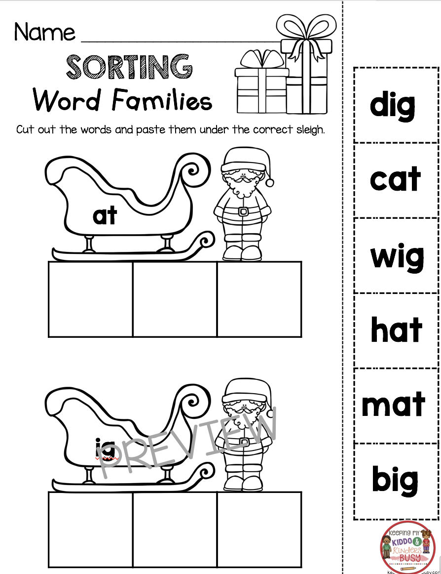 CHRISTMAS CVC WORDS Freebies Kindergarten and First