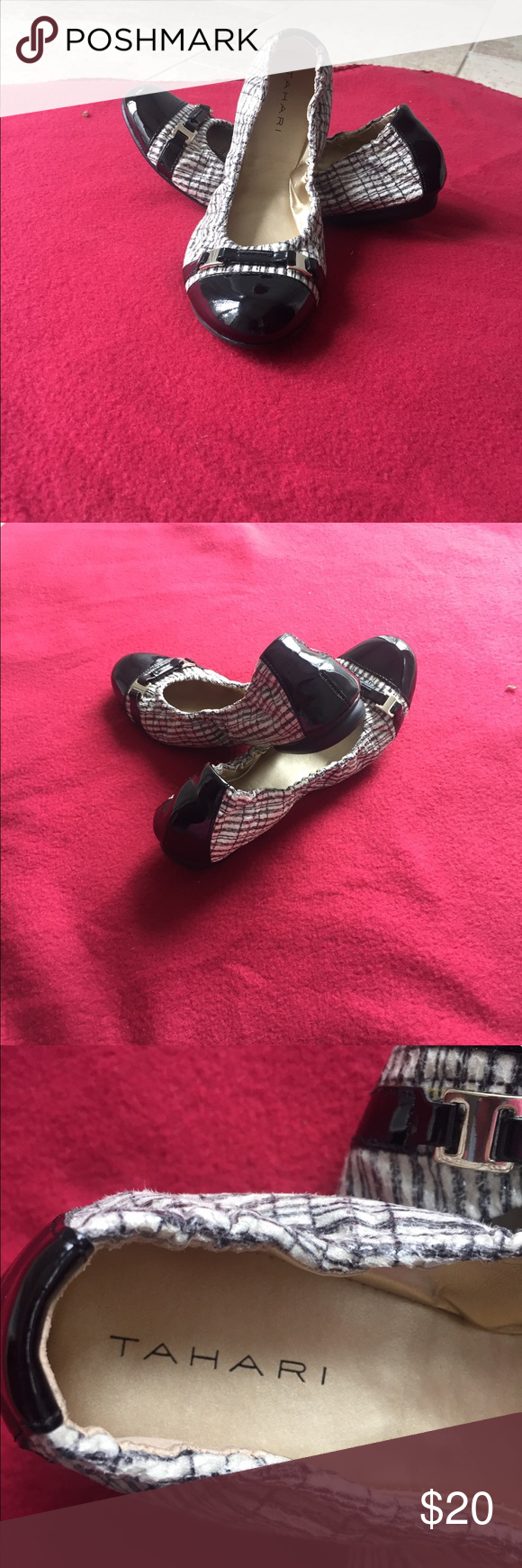 Black & white scrunch flats!💙 Black and white striped scrunched flats with a cute silver buckle. You can wear with or without socks! Perfect for all year round💙! Tahari Shoes Flats & Loafers