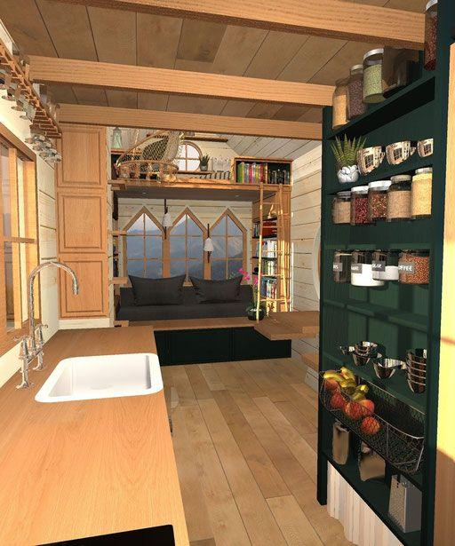 Vue paysage de la cuisine vers le salon, de jour NE Tiny house - dessiner plan de maison