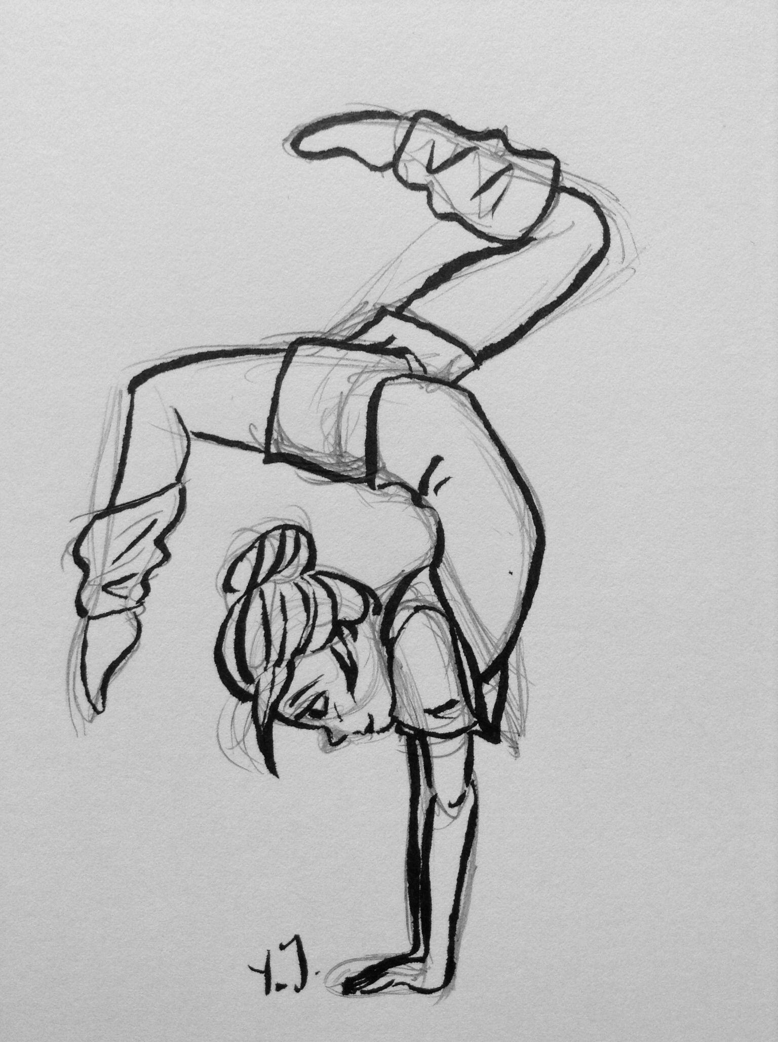 Gymnastics Girl Sketch By Yenthe Joline Art Drawings Easy