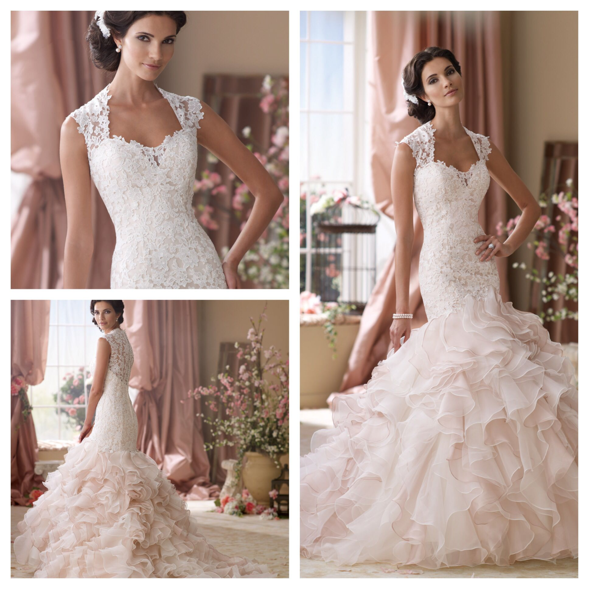 Tulle mermaid wedding dress  Style No  Venise lace organza and tulle mermaid