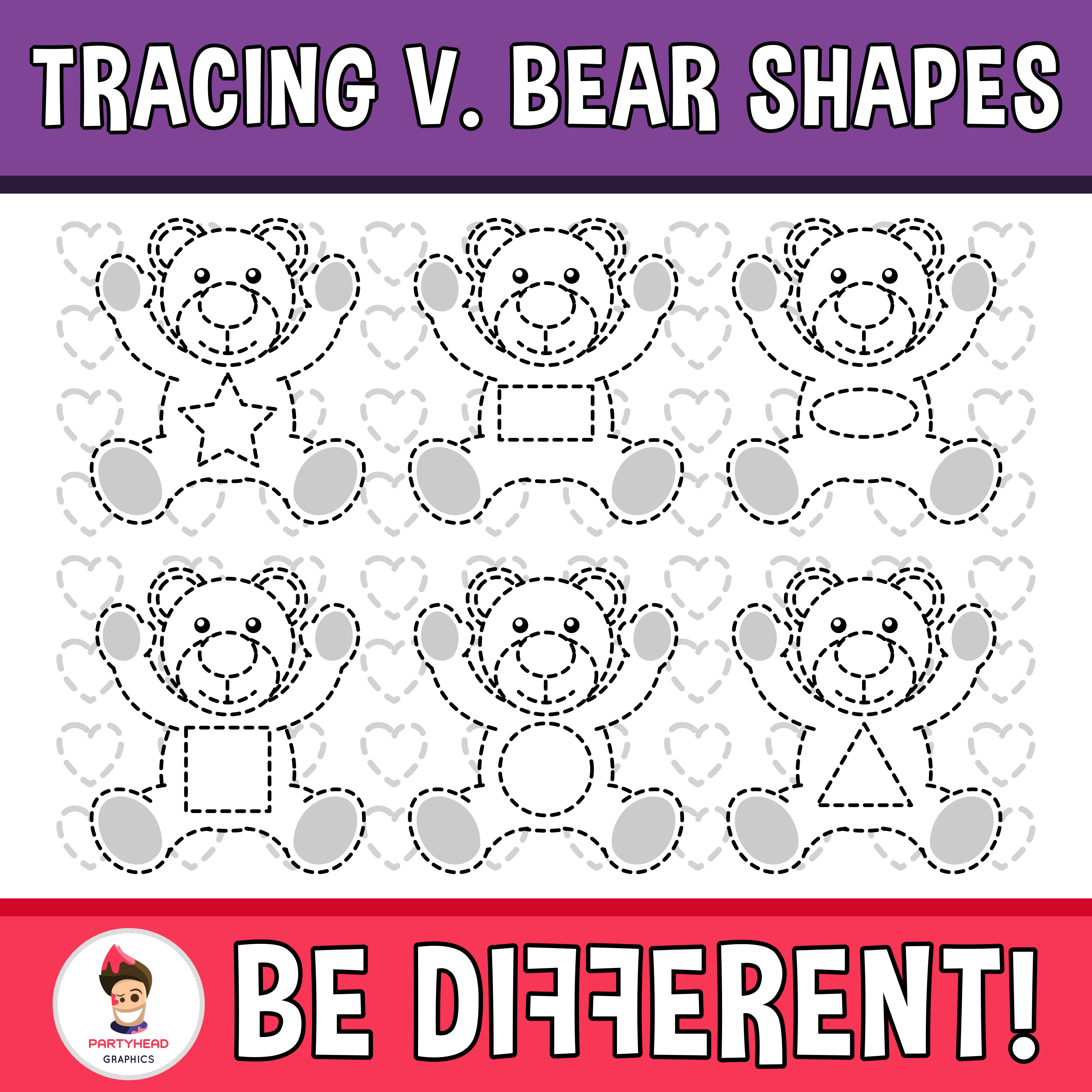 Tracing Valentine S Bear Shapes Clipart