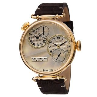 Akribos XXIV Men's Quartz Dual Time Leather Gold-Tone Strap Watch - Free Shipping Today - Overstock.com - 17096424