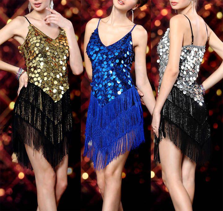 Night Club Cocktail Party Dress Latin Salsa Ballroom Dance Sequin Fringe Dress