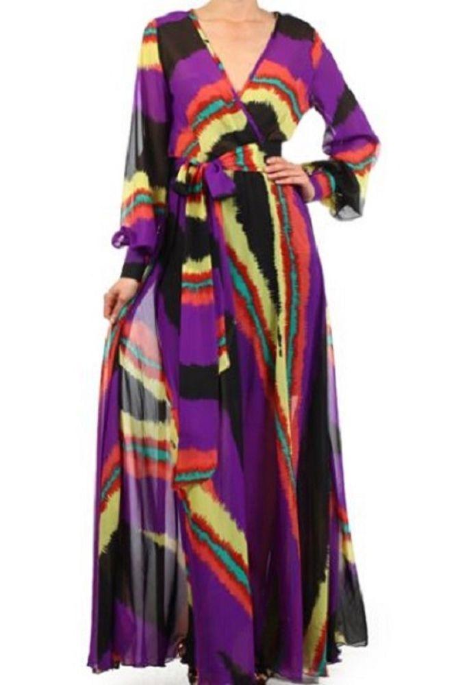 4d173b15d08 FULL SWEEP Chiffon MAXI DRESS Wrap SHEER Long Slv Blouse Gown CRUISE Vtg  Party