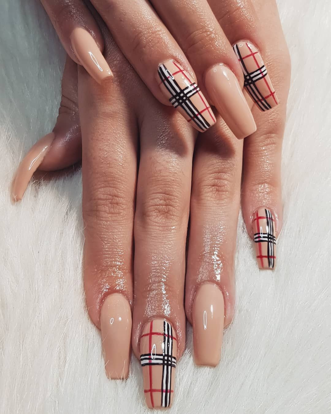 Cory Antunes Nail Artist On Instagram Burberry Feels Handpaintednailart Nails Nailart Nailde Burberry Nails Coffin Nails Designs Best Acrylic Nails
