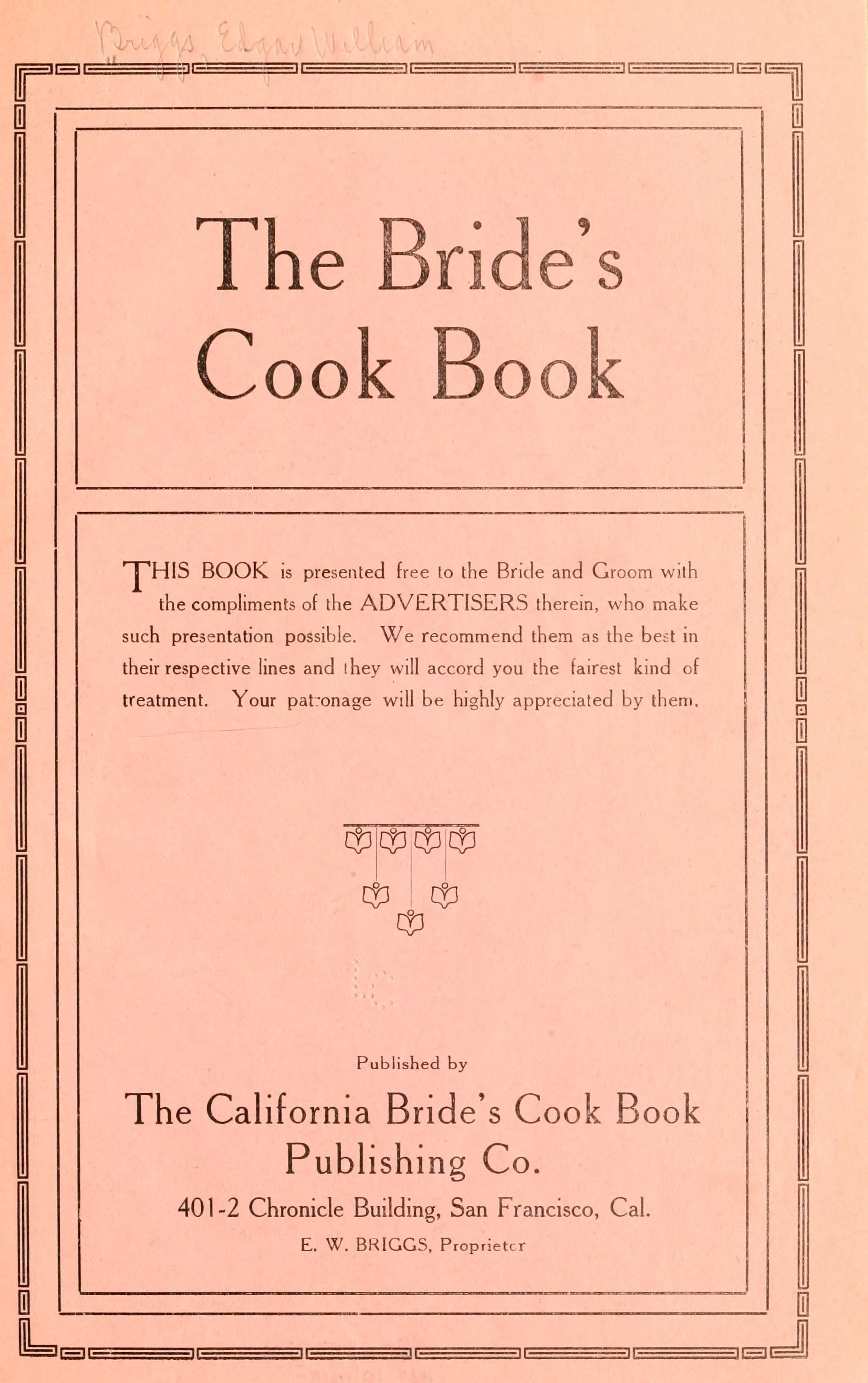 The brides cook book