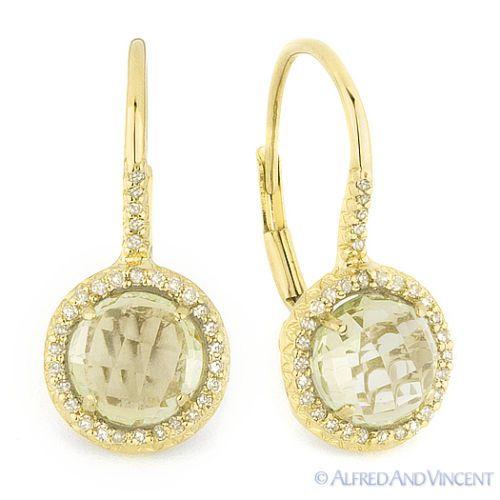 14k Yellow Gold Round Cut White Diamond Flower Dangle Leverback Earrings 2.80Ct