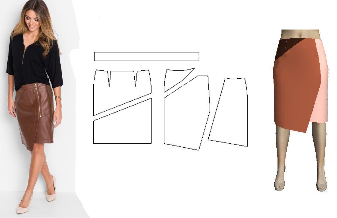 Ассиметричная юбка с выкройкой фото 667