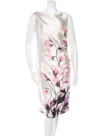 Valentino Silk Sleeveless Floral Print Dress