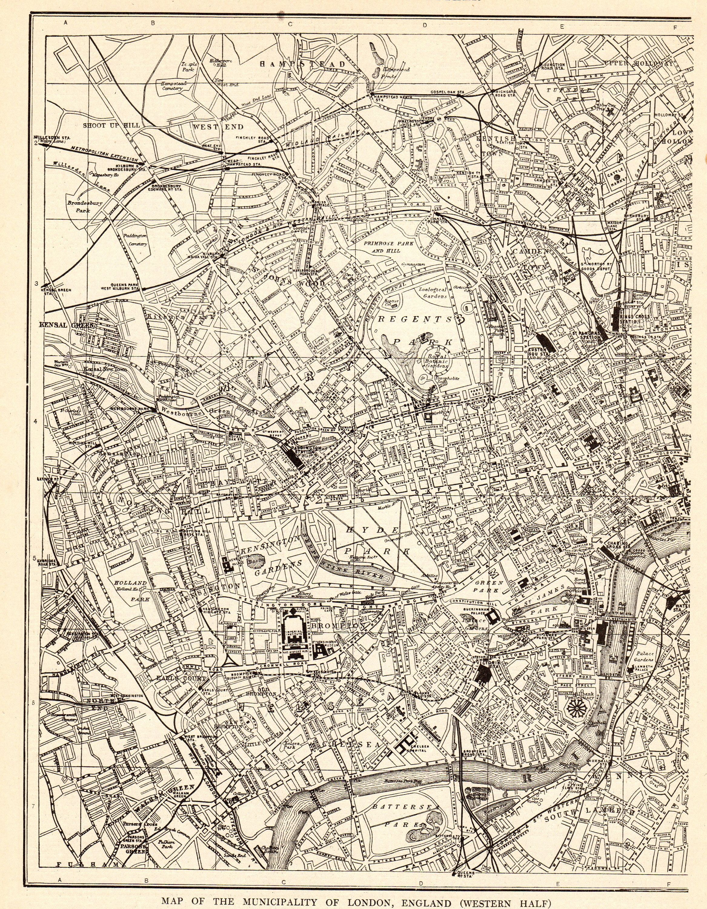 1917 Antique London Street Map Vintage City Map Of London England Black And White Wall Art Gift For Birthday Wedding Anniversary 10651 Antique London Map London Map Street Map Of London