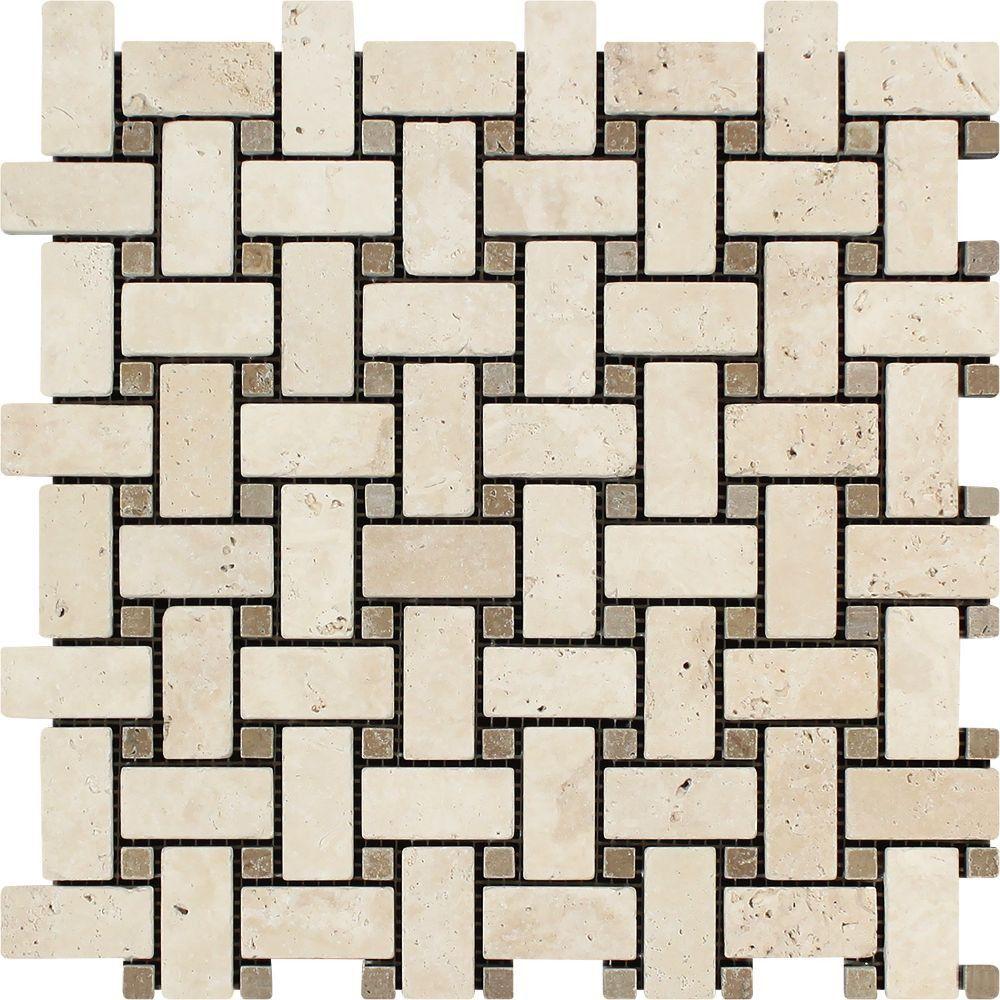 Ivory Tumbled Travertine Basketweave Mosaic Tile W Noce Dots