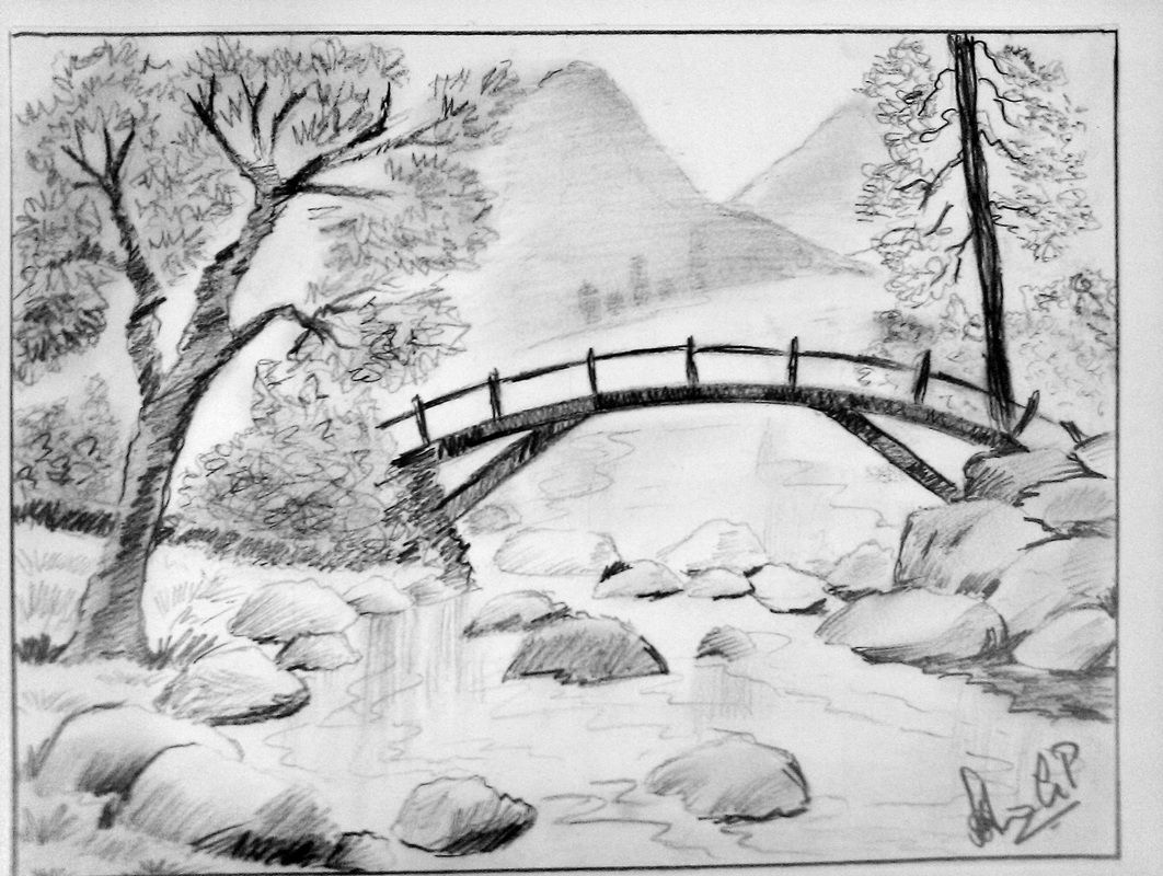 Pencil Sketch Mountain Stream