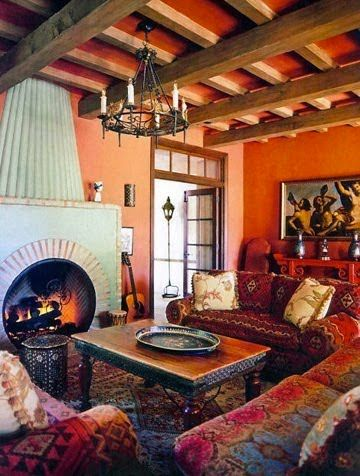Love the couches and beams.