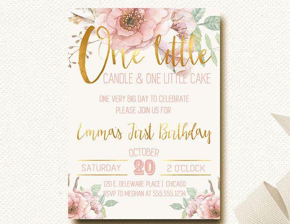 2018 年の pink and gold first birthday invitations woodland