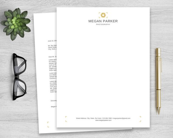 Letterhead Template for Word, Personalized Notepad, Business