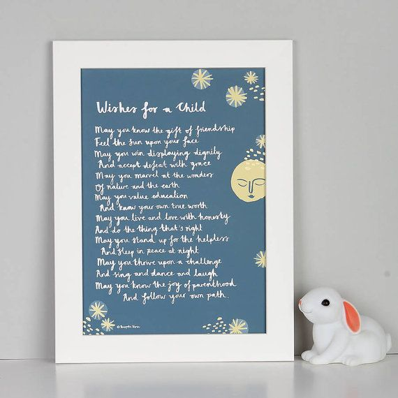 Christening Gift Wishes For A Child Print Poem Winnie The Pooh