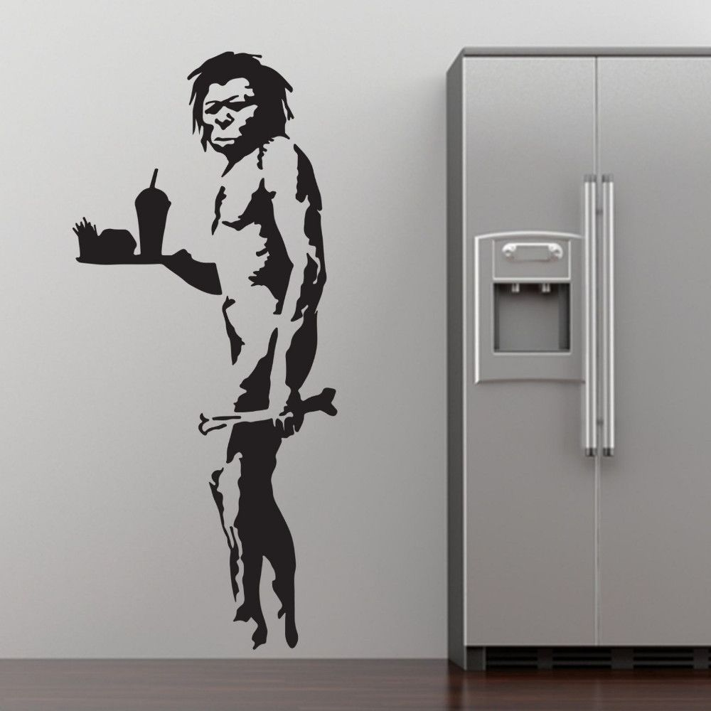 Banksy fast food caveman graffiti wall art sticker decal home diy cheap sticker tank buy quality decorative vinyl wall stickers directly from china sticker wall decor suppliers banksy fast food caveman graffiti wall art amipublicfo Choice Image