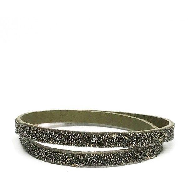 She Rise Dorado Wrap Bracelet (48 CHF) ❤ liked on Polyvore featuring jewelry, bracelets, olive, leather wrap bracelet, swarovski crystal wrap bracelet, leather jewelry, swarovski crystal jewelry and swarovski crystal bangle