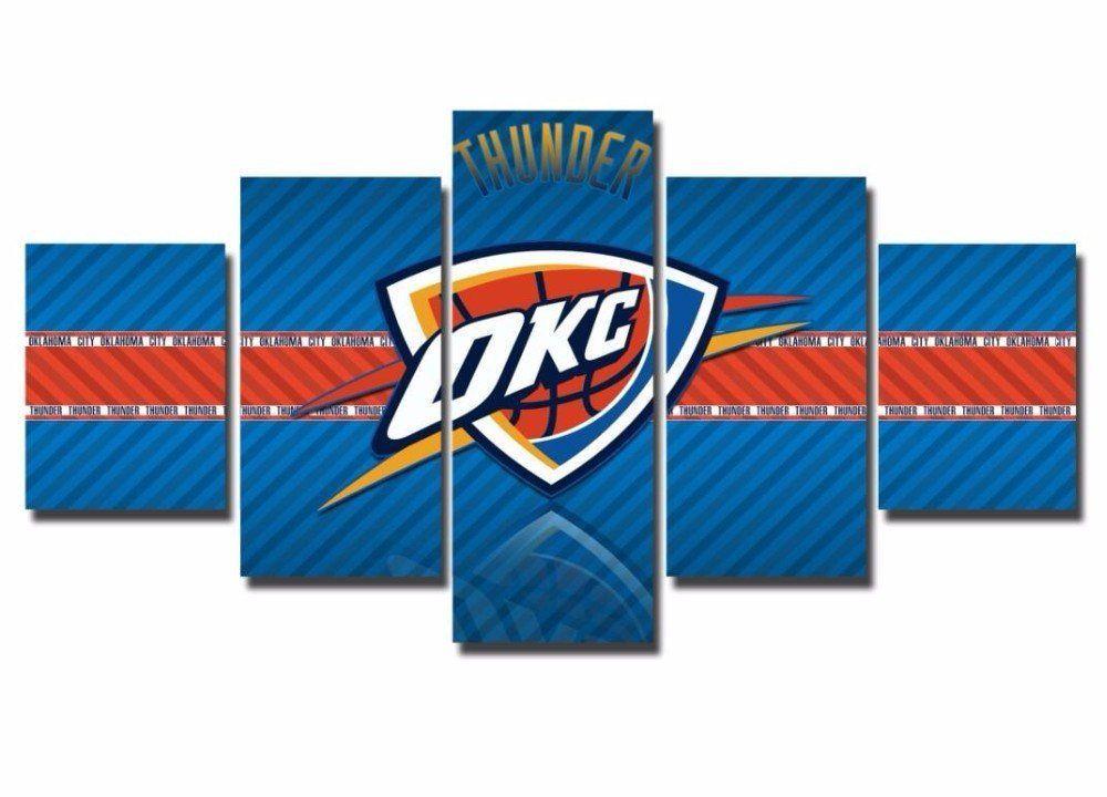5 Panel Framed OKC Thunder NBA Wall Art Canvas