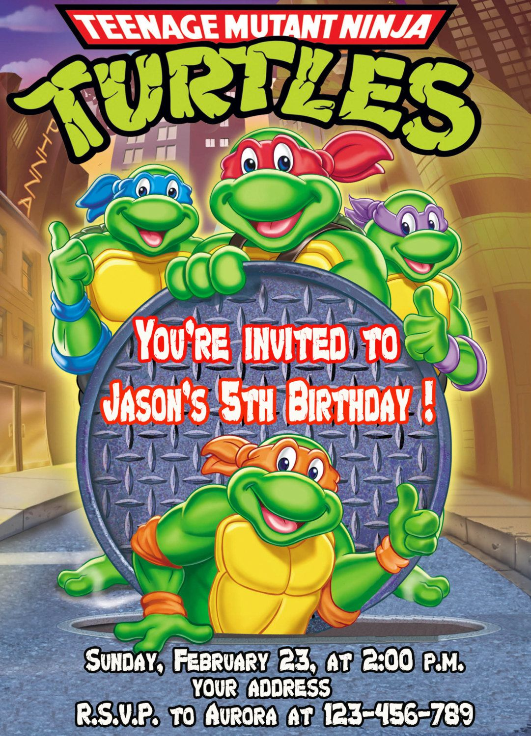 picture about Ninja Turtles Invitations Printable identified as Teenage Mutant Ninja Turtles birthday invitation Printable