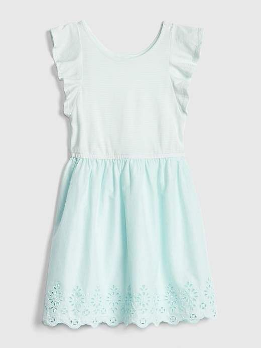 9b41298f Gap Girls' Kids Flutter Mix-Media Dress Misty Acqua in 2019 ...