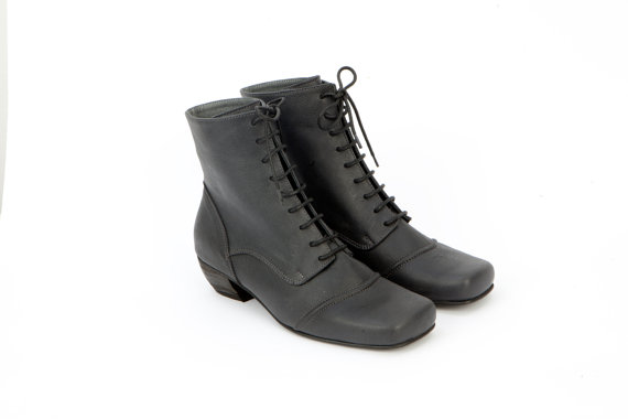 041e2d36a9d4 Tom Sawyer Womens leather shoes Lace Up Ankle Booties Granny Boots Rustic  Black Oxford Flats Heels Dress Classic Size 39 40 41 5.5 6.5 7.5 8