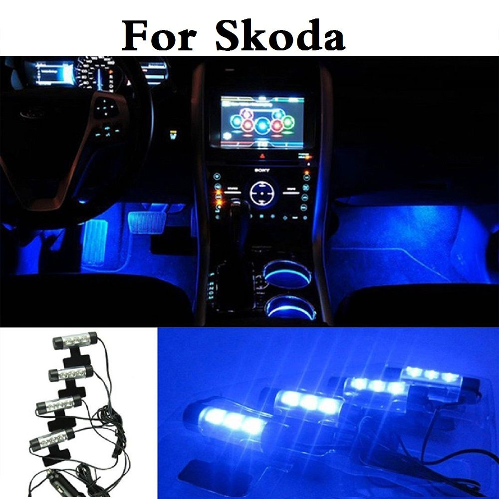 4in1 Led Blue Car Interior Decorative Atmosphere Lights Lamp For
