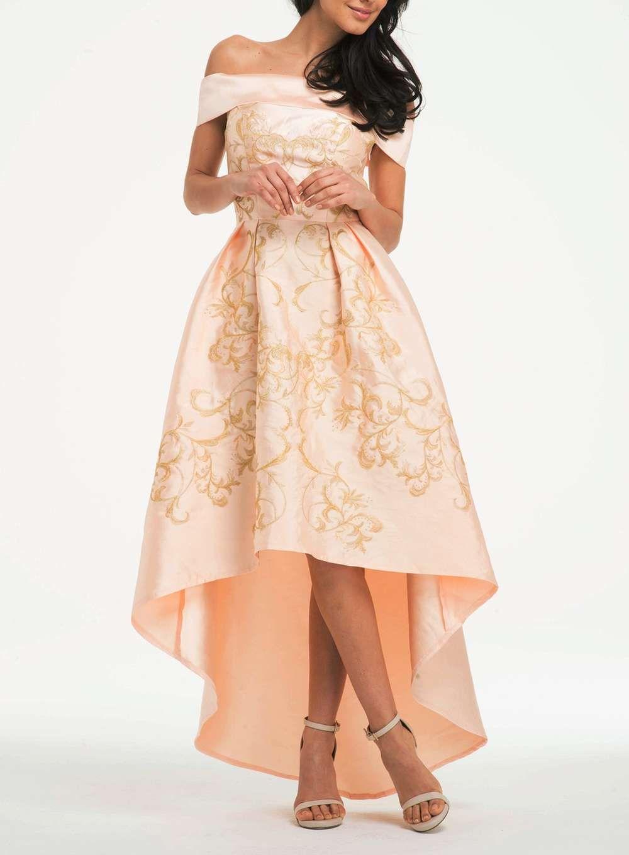 Chi Chi London Nude Embroidered Bardot Dress - Maxi Dresses ...