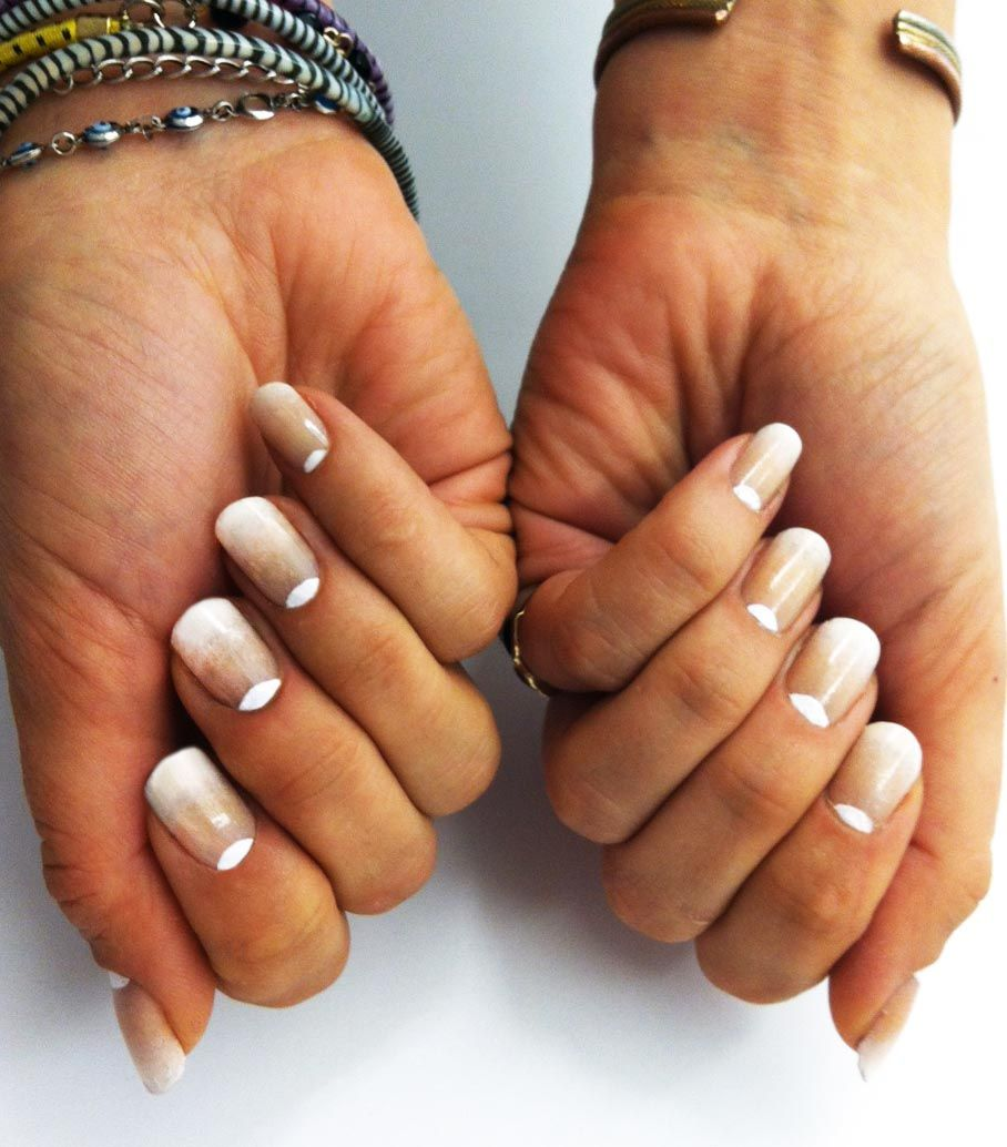 Faded French Manicure: This is just a photo, not a tutorial. But it's easy enough to find tutorials for Gradient Nails & Reverse French Manicures (for the half-moon part) here on Pinterest :)