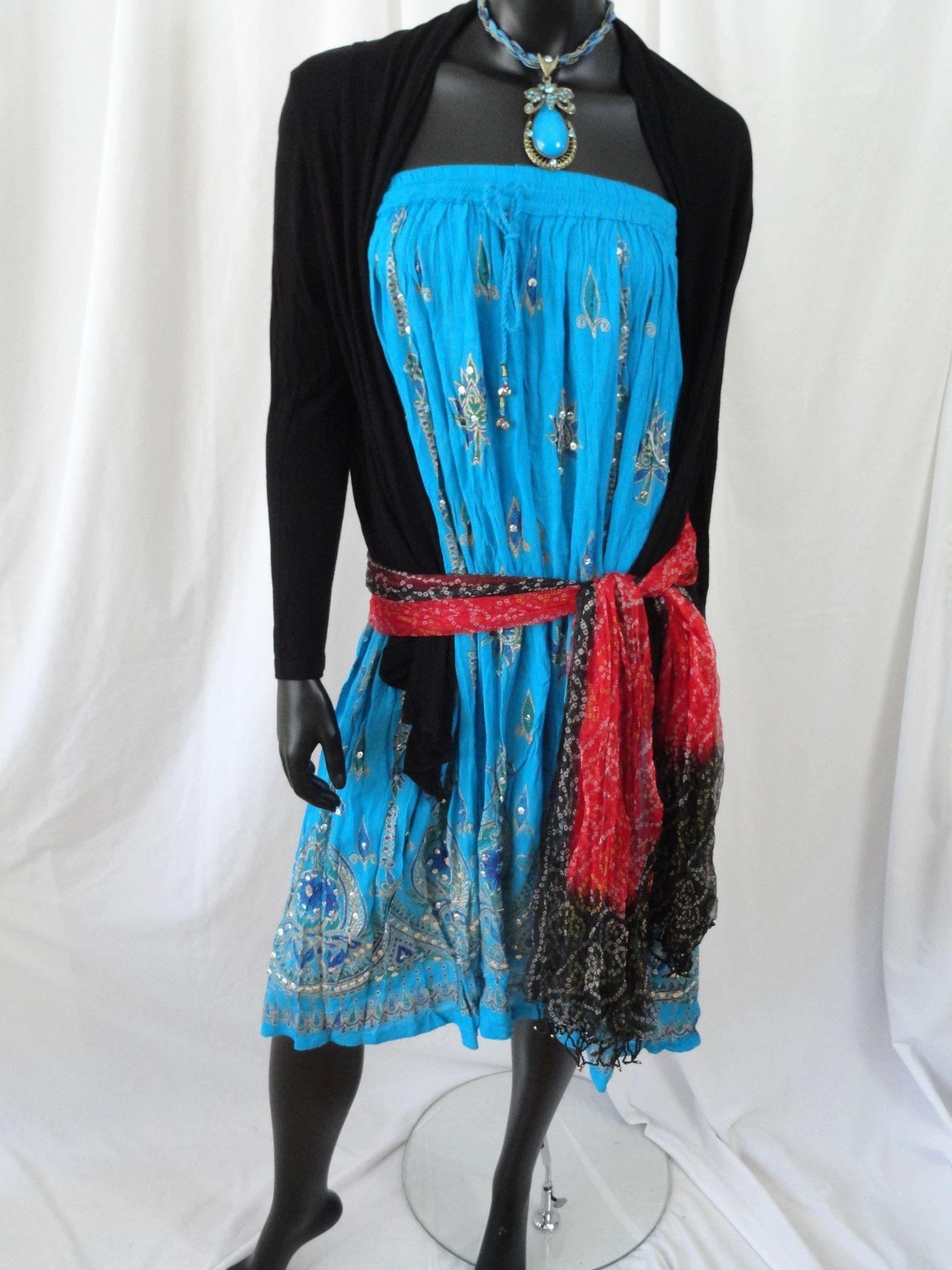 Long, crushed cotton turquoise blue skirt. Indian maxi, mirror work, C – Artikrti