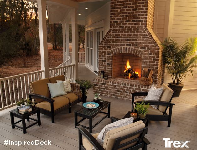 Enjoy A Cozy Fireside Conversation Sitting On A Porch Featuring