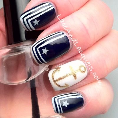 Lace and Lacquers: Happy Veterans Day! US Navy Inspired Nail Art ...