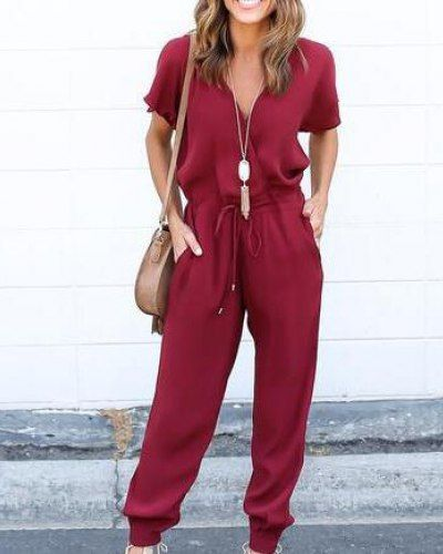 1cd6d83dd135 Cross front jumpsuit v neck romper for teenage girls