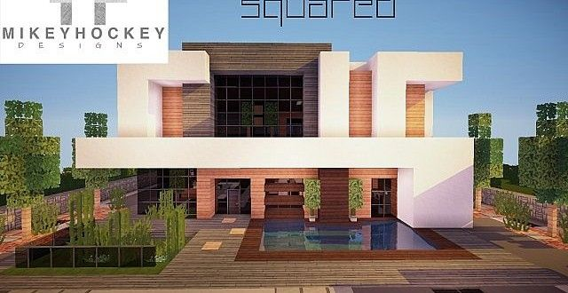 squared modern home design building ideas patio pool | minecraft