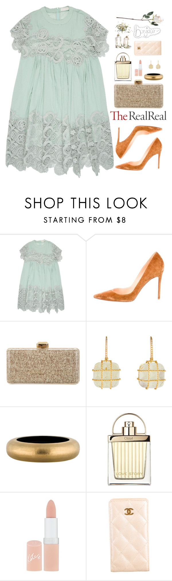"""""""Untitled #352 // Fall Style With The RealReal: Contest Entry"""" by pinkandgoldsparkles ❤ liked on Polyvore featuring Chloé, Christian Louboutin, Oscar de la Renta, Madstone, Alexis Bittar, Rimmel, Chanel and Topshop"""