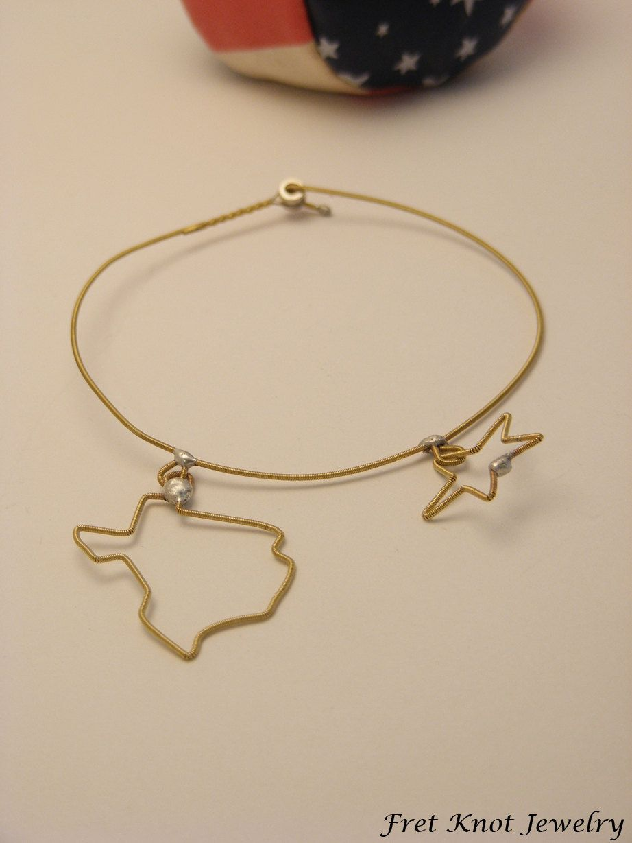 Guitar String Jewelry Fretknotjewelry On Etsy State Of Texas Bracelet Recycled And Upcycled Lone Star