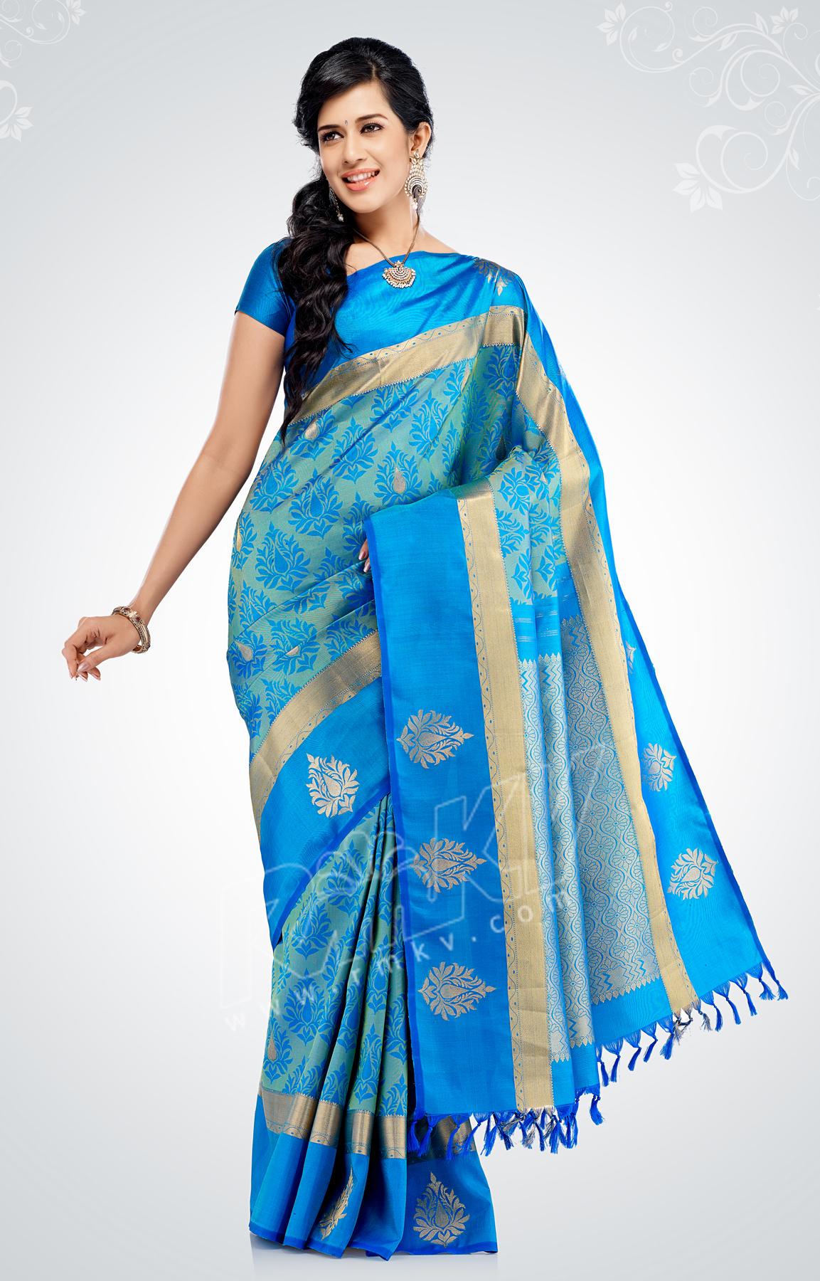 44d35acb94 Blue-green silk saree with large blue borders. - RmKV Silks | Silk ...