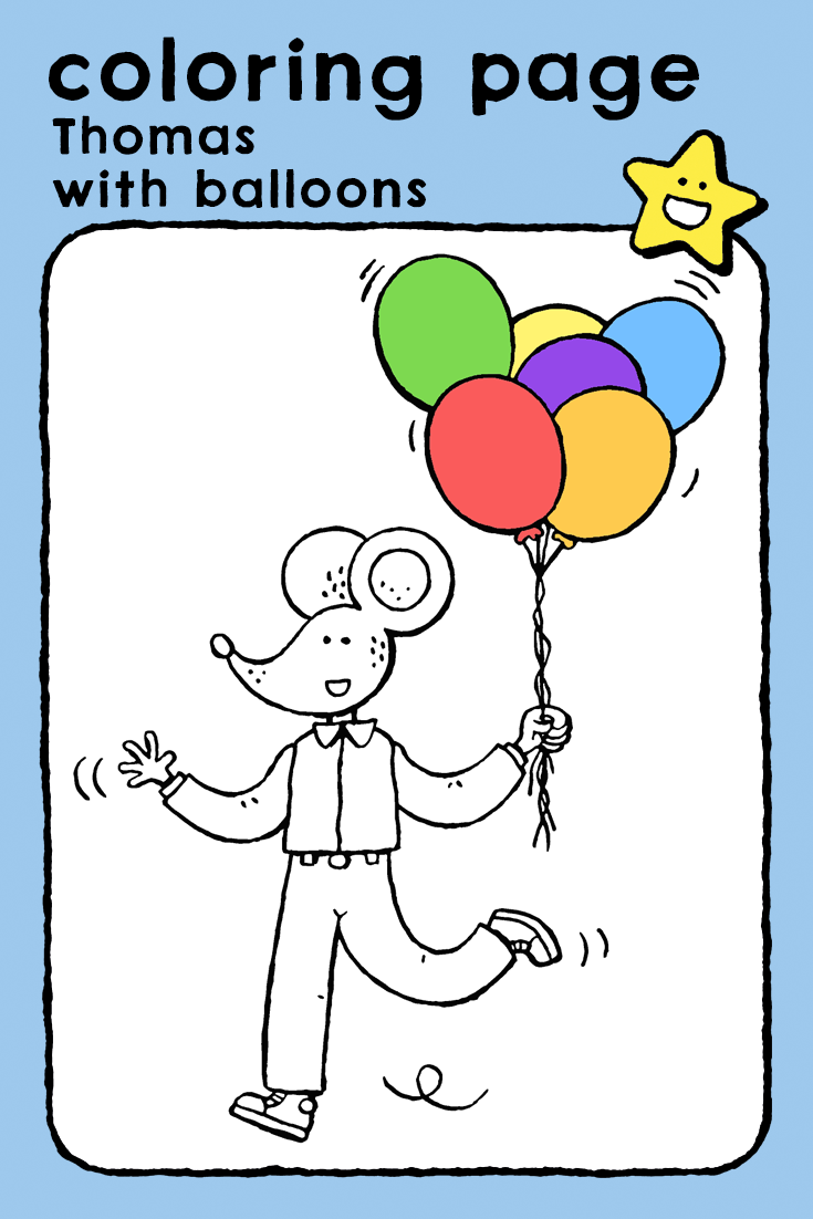 Kleurplaten Feest Balonnen.Thomas With Balloons Coloring Pages Kids Emma And Thomas