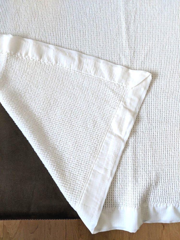 Vintage White Thermal Loose Waffle Weave Acrylic Baby Blanket Nylon Trim   Unbranded 8662e5413