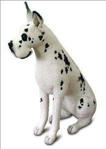 Life Size Harlequin Great Dane Stuffed Plush Animal Sitting